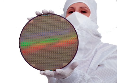 Woman showing a wafer